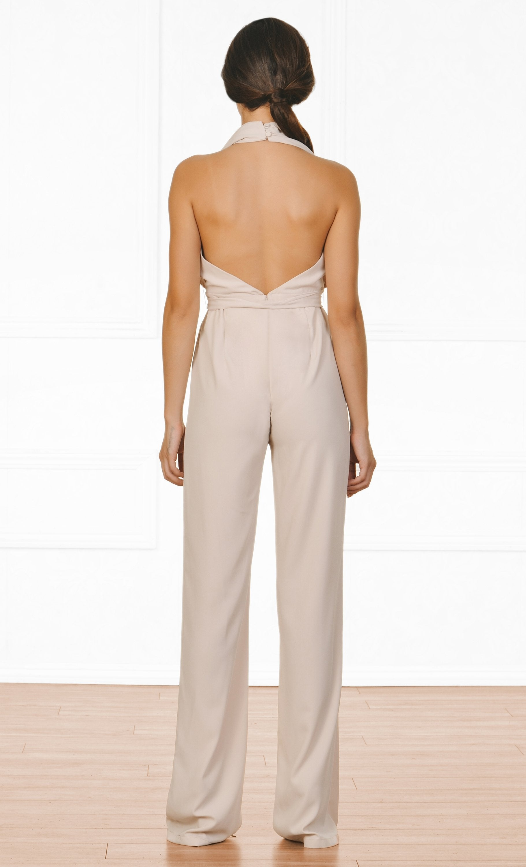 Indie XO All Natural Beige Sleeveless Plunge V Neck Halter Tie Belt Backless Jumpsuit
