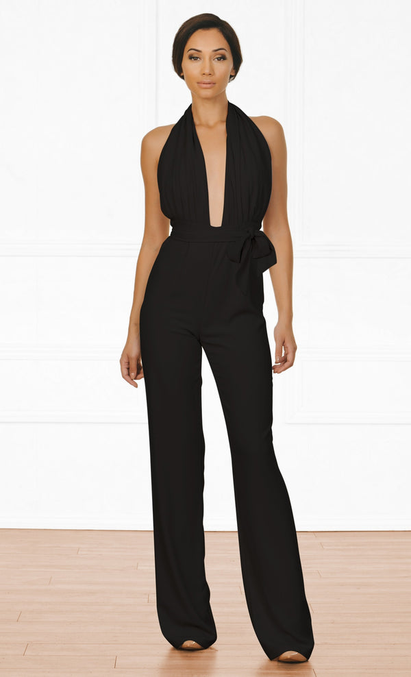 Indie XO All Natural Black Sleeveless Plunge V Neck Halter Tie Belt Backless Jumpsuit