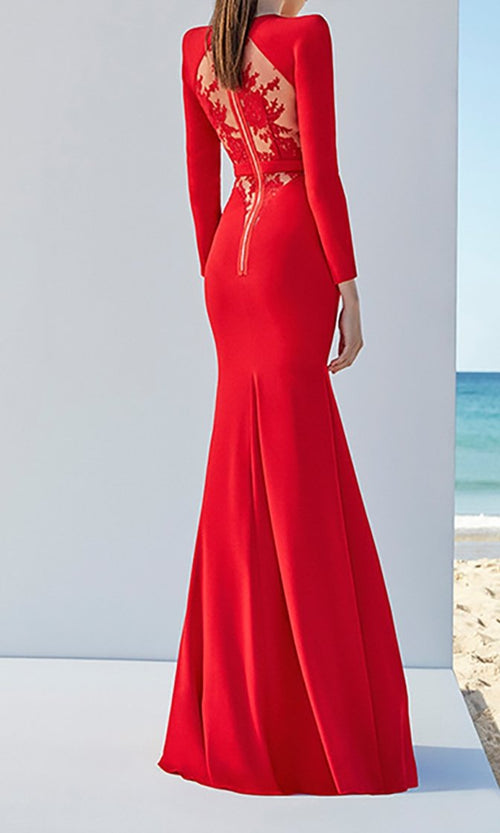 Fame and Fortune Long Sleeve Round Neck Lace Back Bandage Fit and Flare Maxi Dress - 2 Colors Available
