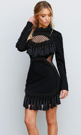 No Less Than Flawless Chunky Beaded Black Sheer Mesh Net Tassel Fringed Cut Out Mock Neck Bodycon Rounded Hem Mini Dress