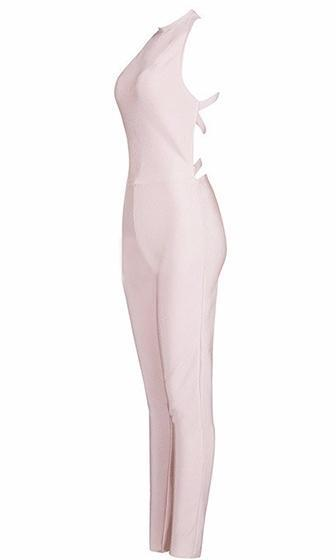 Pushed Too Far Sleeveless Mock Neck Halter Crisscross Back Bodycon Bandage Jumpsuit - 2 Colors Available - Sold Out