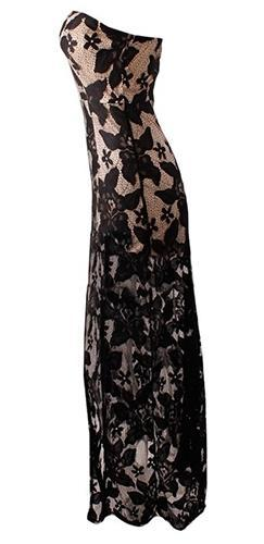Don't Be Late Beige Black Sheer Lace Strapless Sweetheart Neck Maxi Dress Evening Gown - Sold Out
