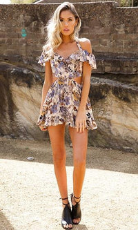 Sweetie Pie Beige Blue Brown Yellow Floral Off The Shoulder Cut Out Side Halter Mini Dress - Sold Out