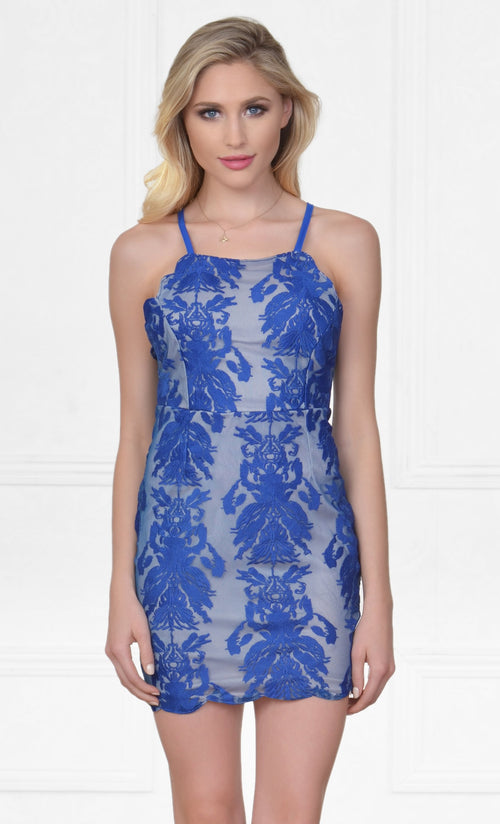 Indie XO All My Loving Blue Lace Sleeveless Spaghetti Strap Scoop Neck X Back Halter Bodycon Mini Dress