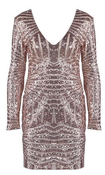 Champagne Toast Beige Sequin Long Sleeve V Neck Bodycon Mini Dress - Sold Out