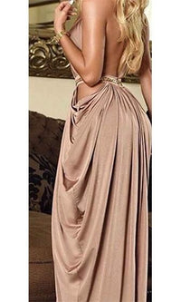 Dressed To Impress Beige Gold Sleeveless Scoop Neck Chain Link Halter Cut Out Draped Maxi Dress - Sold Out