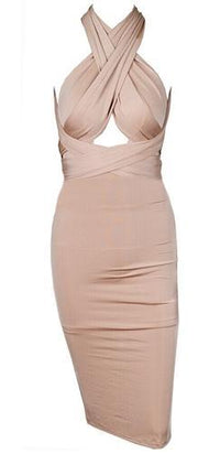Change Is Good Beige Sleeveless Convertible Strap Bodycon Midi Dress - Sold out