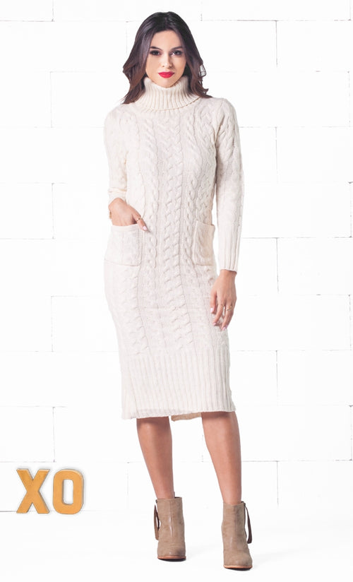 Indie XO Snow Bunny Beige Long Sleeve Turtleneck Cable Knit Pocket Midi Sweater Dress - Just Ours!