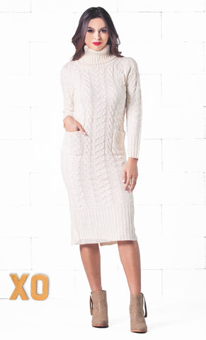Ski Trip White Brown Geometric Pattern Long Lantern Sleeve Turtleneck Mini Sweater Dress