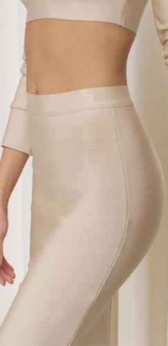 Champagne Taste Beige Long Sleeve Crew Neck Crop Top High Waist Bandage Bodycon Slit Midi Skirt Two Piece Dress - Sold Out