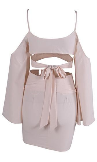 Double Your Pleasure Light Beige Long Bell Sleeve Cross Wrap V Neck Cut Out Crop Top Mini Skirt Two Piece Dress - Sold Out