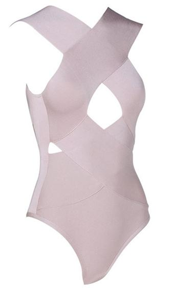No Less Than Flawless Beige Sleeveless V Neck Cut Out Bandage Bodysuit Top -  Inspired by Balmain