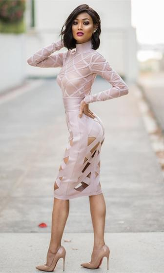 Wait For It Blush Long Sleeve Mock Neck Sheer Mesh Cut Out Skirt Bodycon Bandage Midi Dress