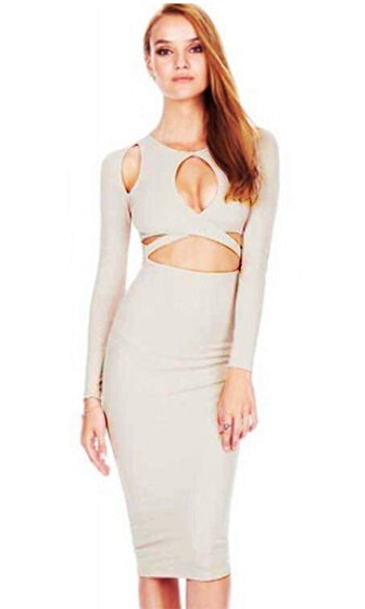 Get Your Fix Beige Long Sleeve Cut Out Cross Wrap Keyhole Bodycon Midi Dress - Sold Out