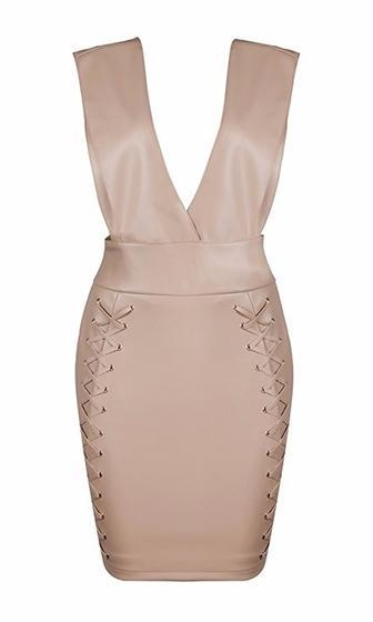Do You Beige PU Faux Leather Sleeveless Plunge V Neck Cut Out Side Crisscross Lace Up Bodycon Mini Dress - Sold Out