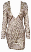 Spaced Out Beige Gold Geometric Sequin Long Sleeve Plunge V Neck Bodycon Mini Dress - Sold Out