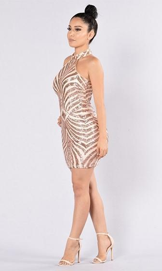 Hit The Mark Beige Gold Geometric Sequin Sleeveless Halter Bodycon Mini Dress - Sold Out