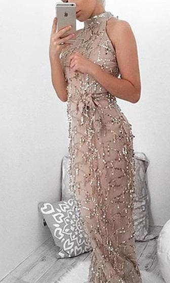 Do As I Say Beige Gold Sequin Tassel Sleeveless Mock Neck Halter Maxi Casual Dress - Sold Out