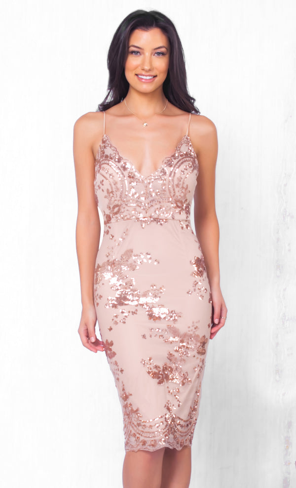 18b9bb1bb2 Indie XO A Moment s Notice Beige Gold Lace Sequin Sleeveless Spaghetti  Strap V Neck Bodycon Mini