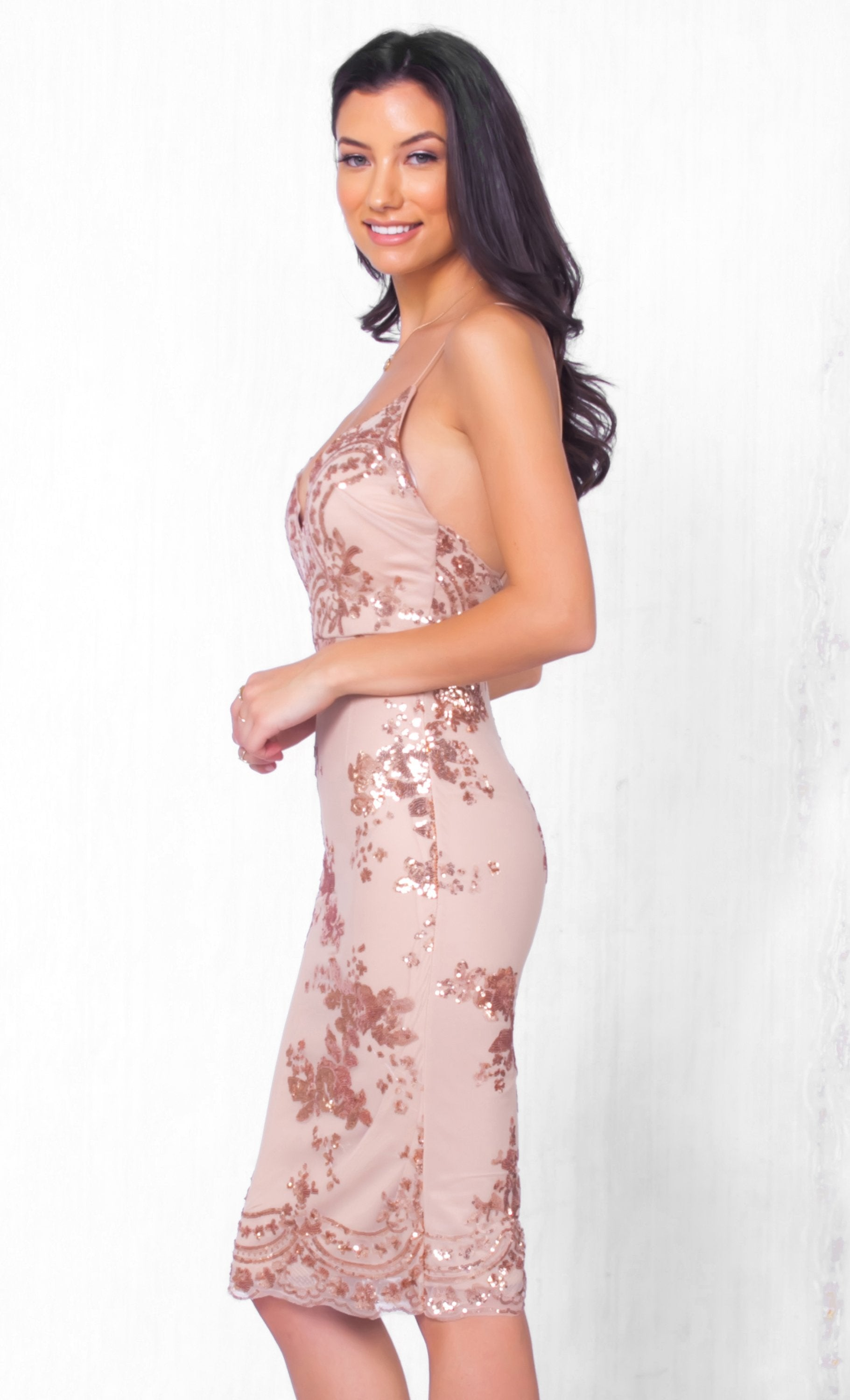 Indie XO A Moment's Notice Beige Gold Lace Sequin Sleeveless Spaghetti Strap V Neck Bodycon Mini Dress - Just Ours!