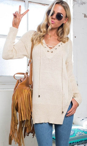Cold Comfort Beige Long Sleeve V Neck Lace Up Grommet Side Split Tunic Pullover Sweater - Sold Out