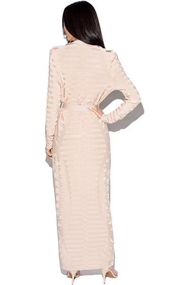 Embrace Change Beige Nude Long Sleeve Tonal Horizontal Stripe Texture Open Front Tie Waist Maxi Cardigan - Sold Out