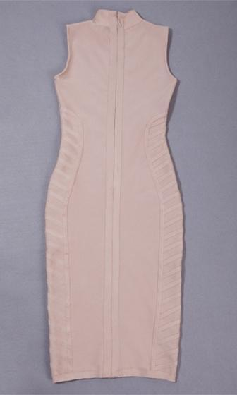 Devil May Care Beige Sleeveless Mock Neck Curved Seam Bodycon Bandage Midi Dress - Sold Out