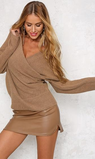 Can't Complain Beige Long Sleeve Cross Wrap V Neck Off The Shoulder Pullover Sweater