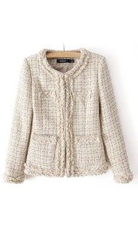 Afternoon Tea Beige Ivory Plaid Textured Long Sleeve Round Neck Jacket - Sold Out