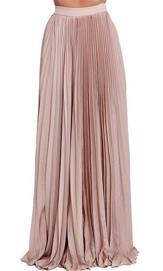 Evening Elegance Light Pink Pleated Ball Gown Maxi Skirt - Sold Out
