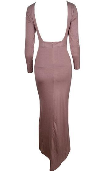 Dangerous Embrace Beige Long Sleeve Scoop Neck Open Back Ruched Draped Side Slit Maxi Dress - Sold Out