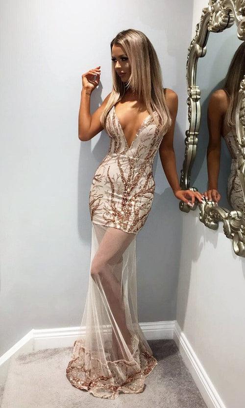 Good And Evil Beige Sheer Mesh Sequin Plunge V Neck Maxi Dress
