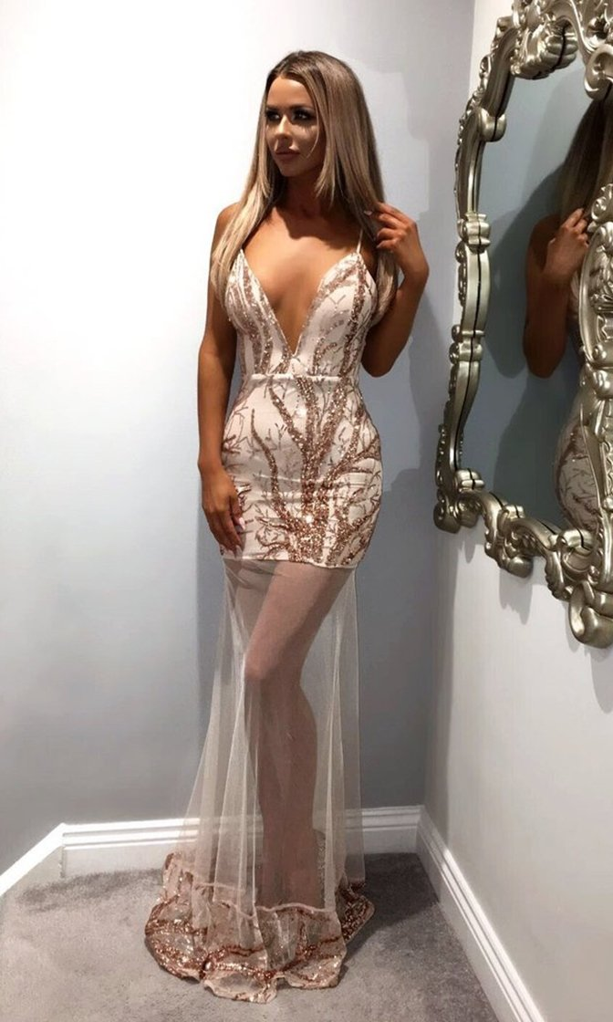 Good And Evil Beige Sheer Mesh Sequin Plunge V Neck Maxi Dress - Sold Out