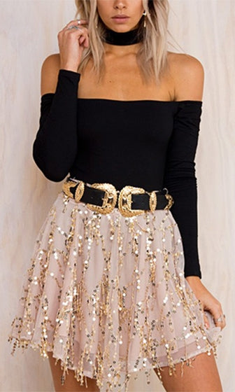 Make A Move Beige Sequin Tassel High Waist Pleated Mesh Skater Circle A Line Flare Mini Skirt