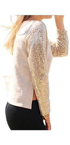 Daytime Shine Beige Gold Sequin Long Raglan Sleeve Scoop Neck Crop Top - Sold Out