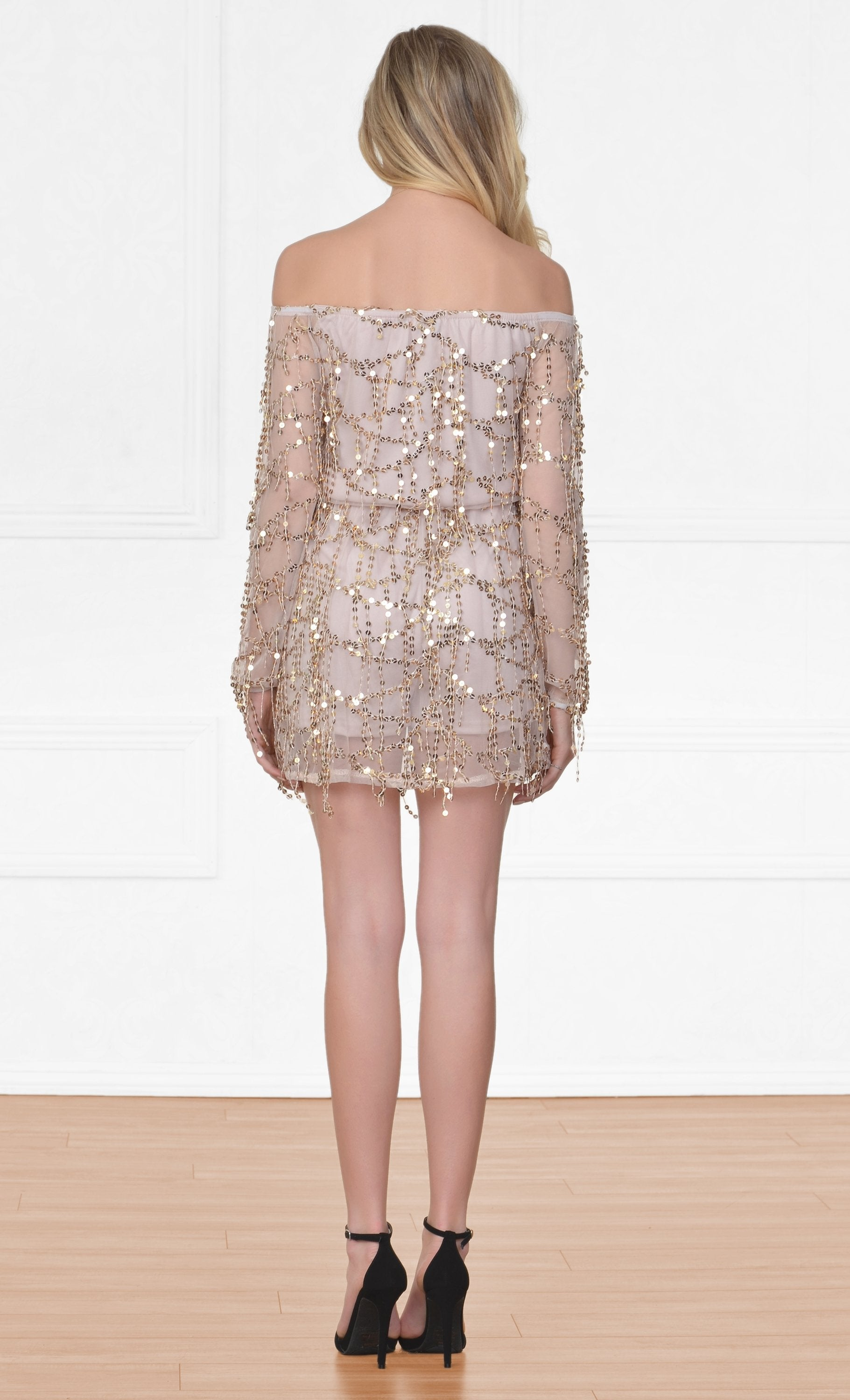 Indie XO Heavenly Flirt Beige Gold Sequin 3/4 Sleeve Off The Shoulder Elastic Waist Mini Dress