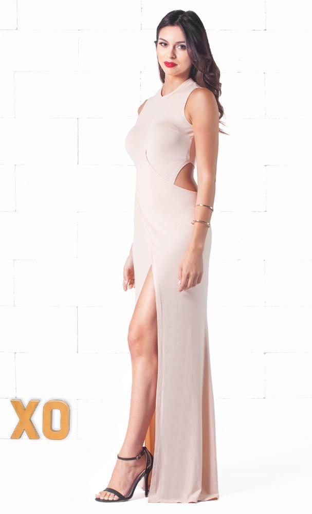 Indie XO Certified Babe Beige Sleeveless Crew Neck Crisscross Cut Out Thigh Slit Maxi Dress - Sold Out