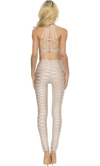 Spotlight Stealer Beige Sleeveless Mock Neck Halter Striped Pants Bodycon Bandage Two Piece Jumpsuit Pattern