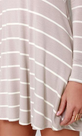 Easy Going Beige White Horizontal Stripe Long Sleeve Scoop Neck Skater Circle A Line Flare Mini Tee Shirt Dress - Sold Out
