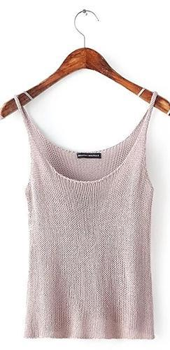 Long Weekend Beige Spaghetti Strap Scoop Neck Sweater Knit Tank Top - Sold Out