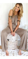 Safari Ready Beige Sleeveless Scoop Neck Twist Front Cut Out Side Wide Leg Jumpsuit - Sold Out