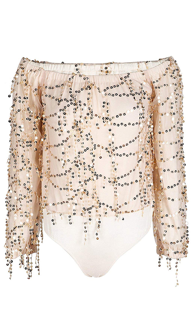 Party Time Beige Gold Sequin Tassel Long Sleeve Off The Shoulder Blouse Bodysuit Top