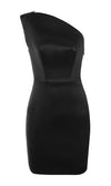 Gone Wild Black Sleeveless Satin Charmeuse One Shoulder Bodycon Bandage Mini Dress