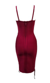 Pure Seduction Burgundy Wine Red Sleeveless Spaghetti Strap Cut Out Lace Up Scoop Neck Bodycon Bandage Midi Dress