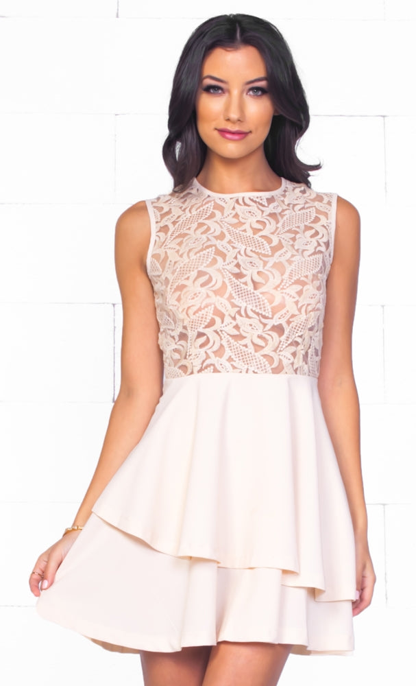 a76e78f610 Indie XO Sheer Delight Beige   Nude Lace Sleeveless Scoop Neck Ruffle Tier  Skater Circle A