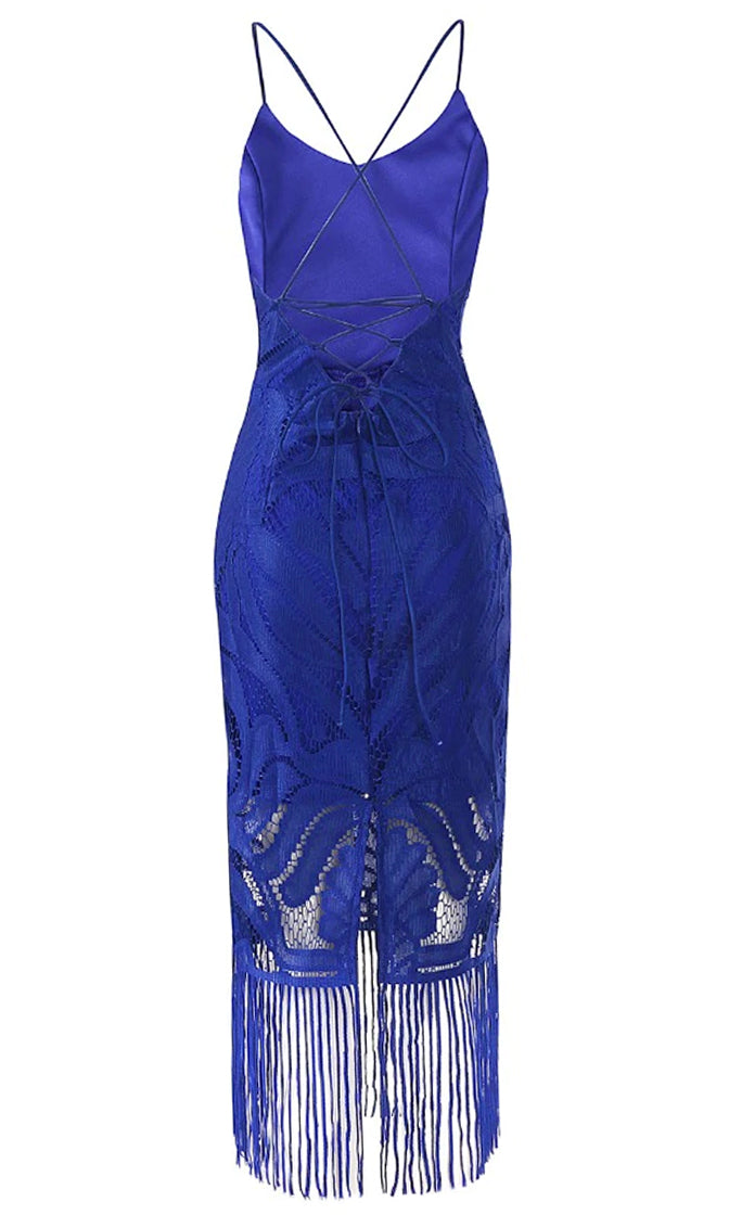 It's Your Move Blue Sleeveless Spaghetti Strap Lace V Neck Tassel Fringe Crisscross Back Bodycon Midi Dress - 4 Colors Available