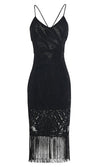 It's Your Move Black Sleeveless Spaghetti Strap Lace V Neck Tassel Fringe Crisscross Back Bodycon Midi Dress - 4 Colors Available