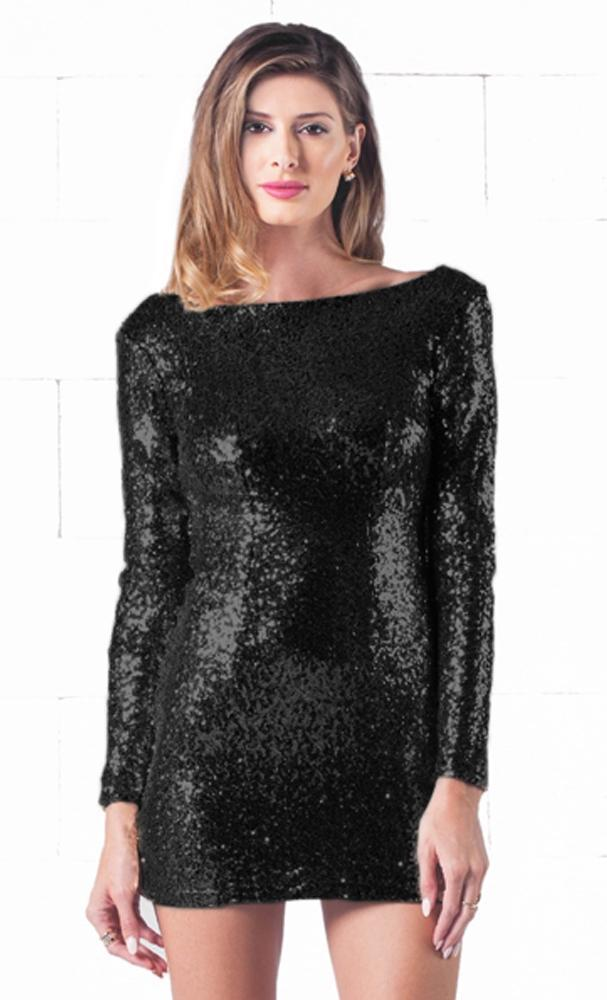 Indie Xo Sparkling Night Black Sequin Long Sleeve Open Draped Backless