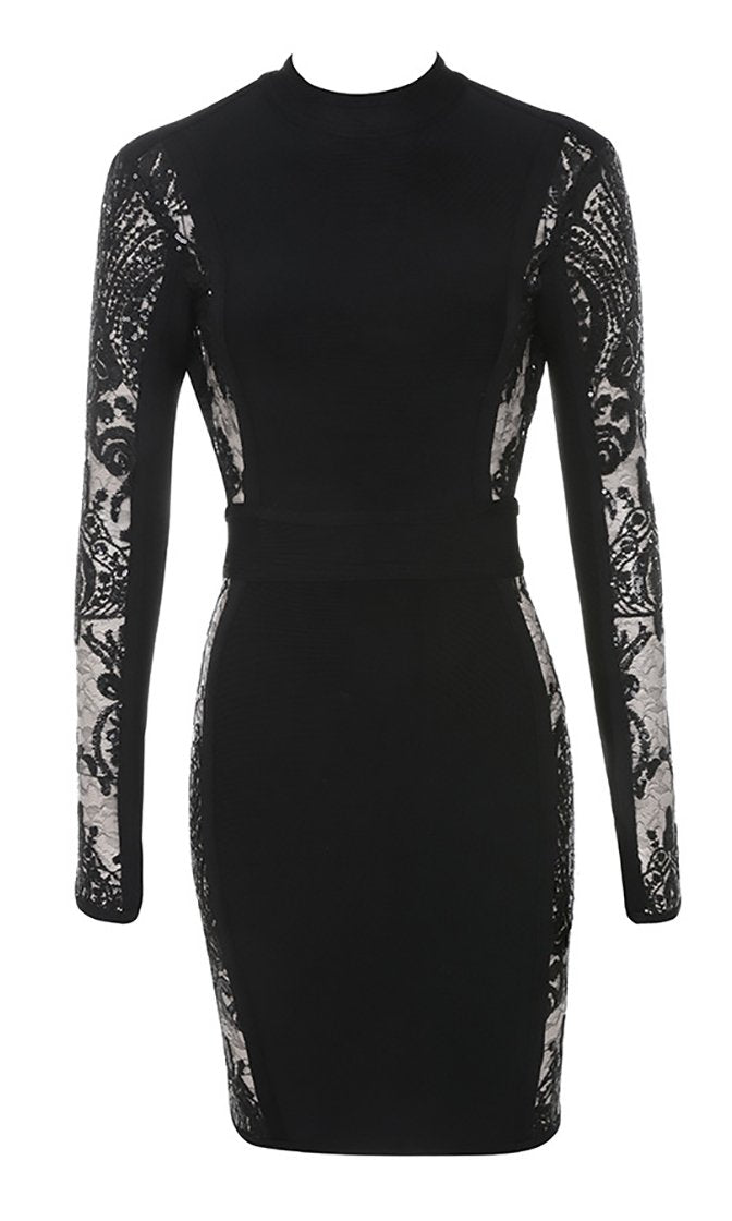 Always Invited Black Sheer Lace Long Sleeve Backless Mock Neck Bodycon Bandage Mini Dress