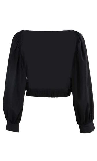 Hidden Talent Black Long Puff Sleeve Scoop Neck Backless Crop Blouse
